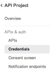 Google API credentials